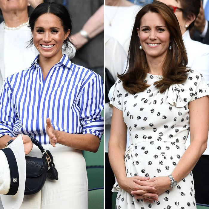 Meghan Markle y la duquesa Kate están 'más cerca que nunca', trabajando en Friendship camisa a rayas, sombrero blanco, vestido blanco