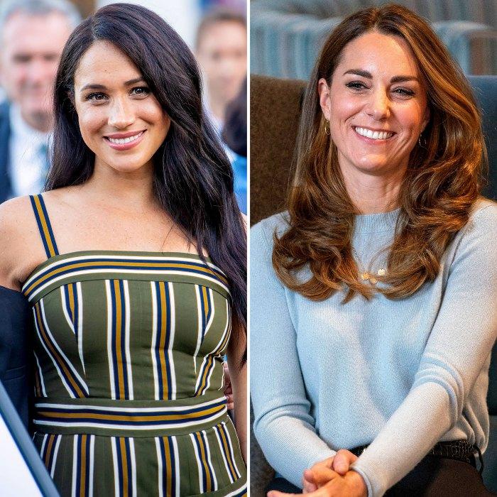 Meghan Markle y la duquesa Kate May colaboran en un proyecto de Netflix vestido a rayas verdes suéter azul