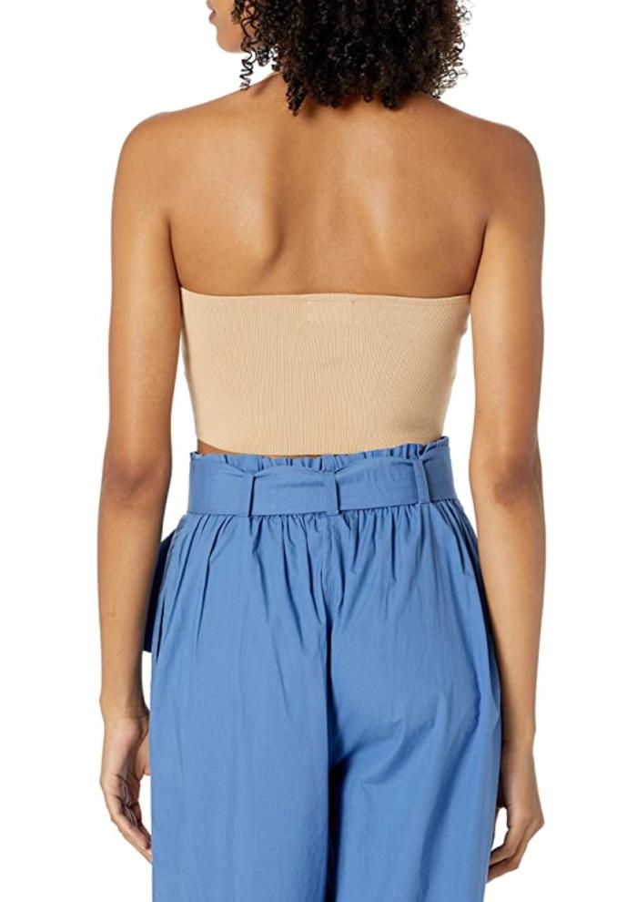 The Drop Greta - Suéter ajustado con cuello cuadrado y cuello halter para mujer
