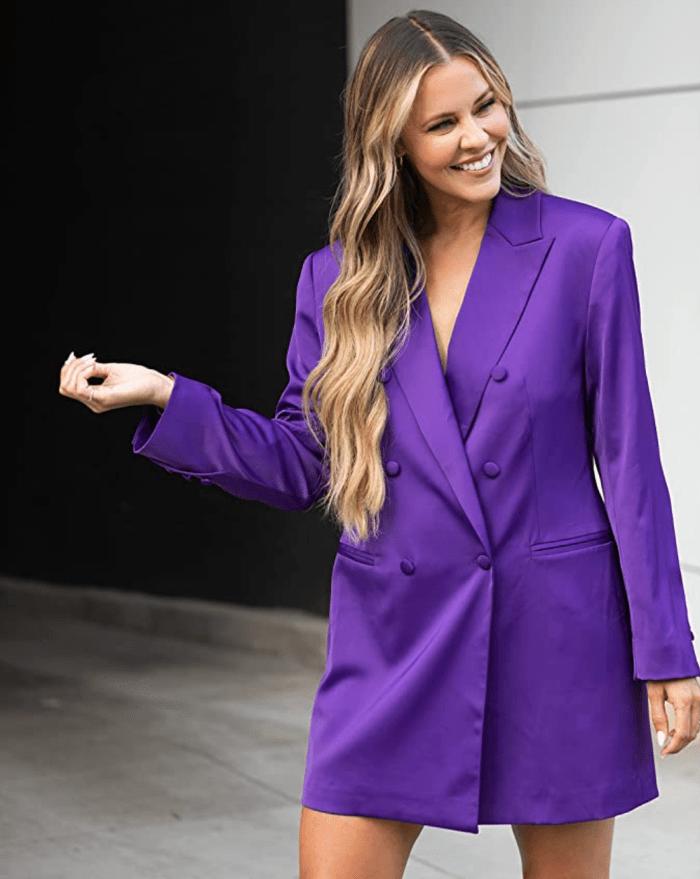 The Drop Women's Purple Double Breasted Blazer Dress by @Kerrently