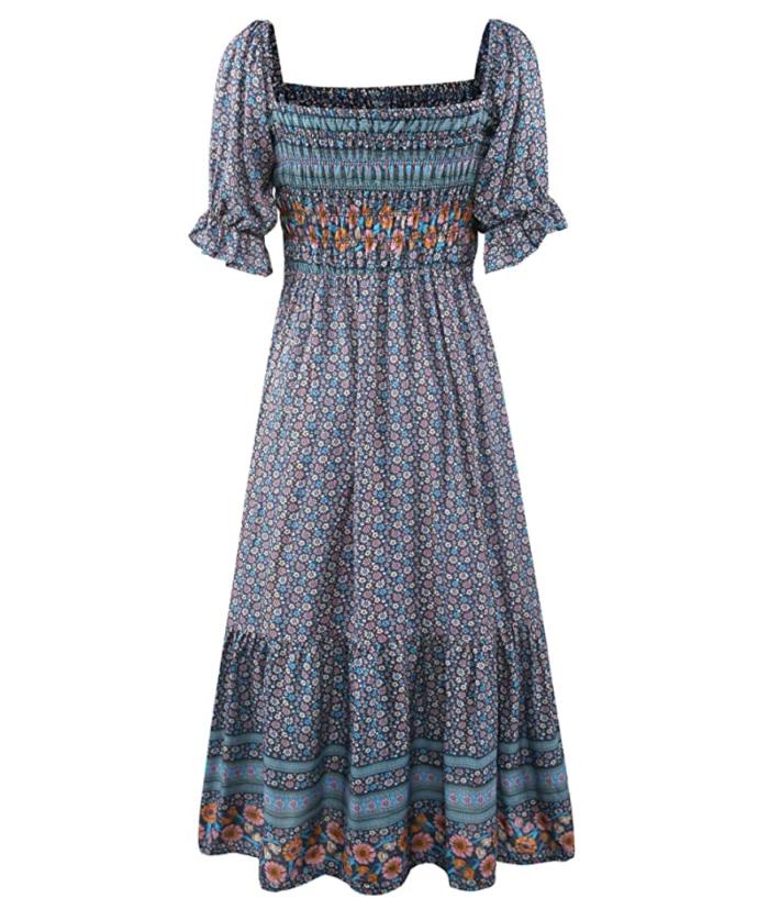 UIMLK Vestido a media pierna con estampado floral y cuello cuadrado bohemio de verano para mujer