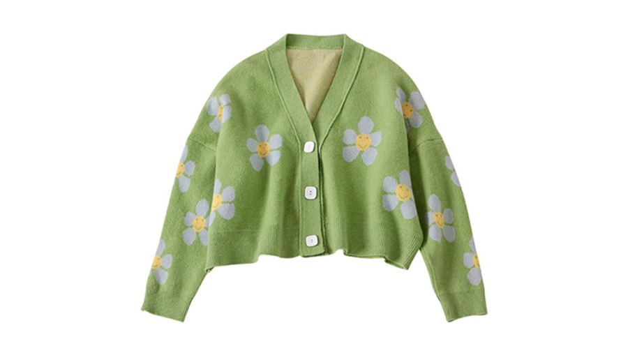 VLOJELRY Women's Flower Long Sleeve Short Cardigan