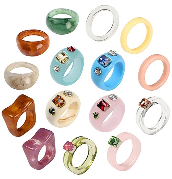 AIDSOTOU 20 Pcs Resin Acrylic Cute Trendy Ring Set