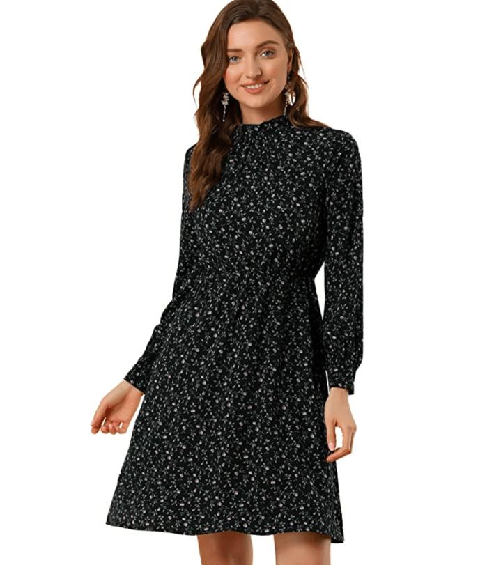 Allegra K Women's Mock Neck Swing Knee Length A-line Dress