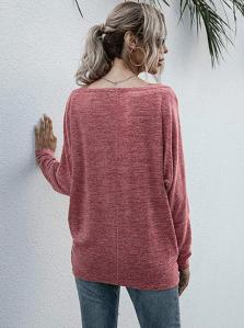 Anna-Kaci Women's Heather Knit Boatneck Long Sleeve Lightweight Pullover Top