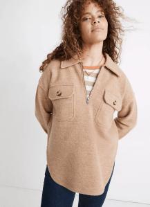 Boiled Wool Half-Zip Popover Sweater