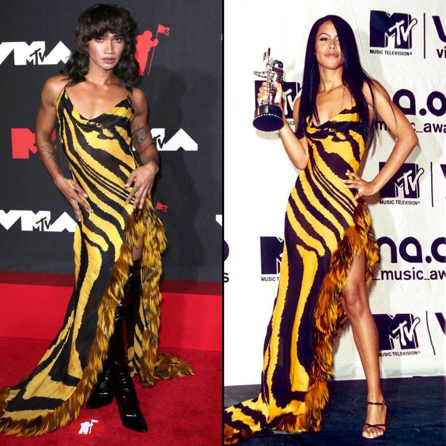 Bretman Rock Wears Same Zebra-Print Dress to 2021 VMAs That Aaliyah Wore in 2001 2021 VMAs