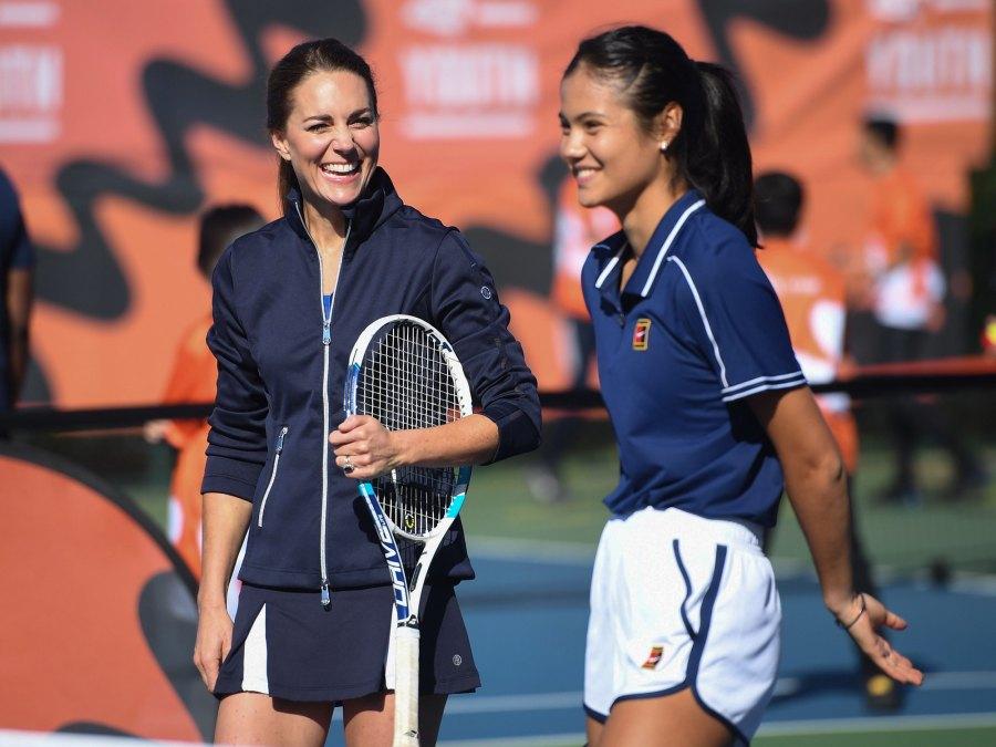 Duchess Kate Middleton Shows Off Tennis Skills With U.S. Open Winner Emma Raducanu