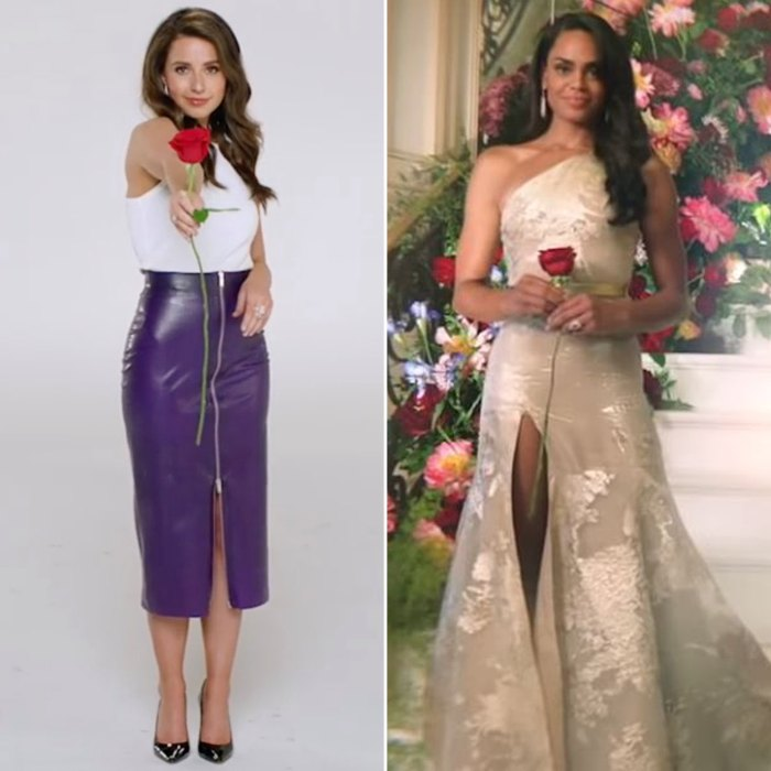 Katie Thurston reacciona a la glamurosa promoción de 'Bachelorette' de Michelle Young: 'Usé una falda morada de goma al revés'