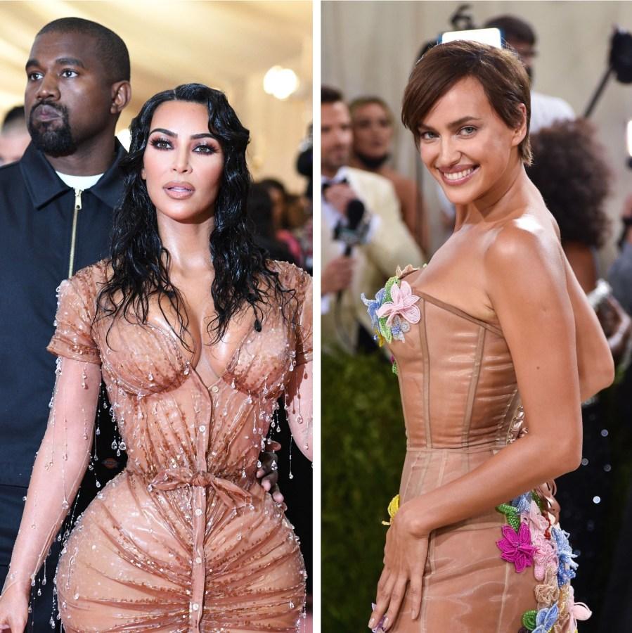 Kim Kardashian Kanye West Matching Met Gala 2021 Irina Shayk Attends