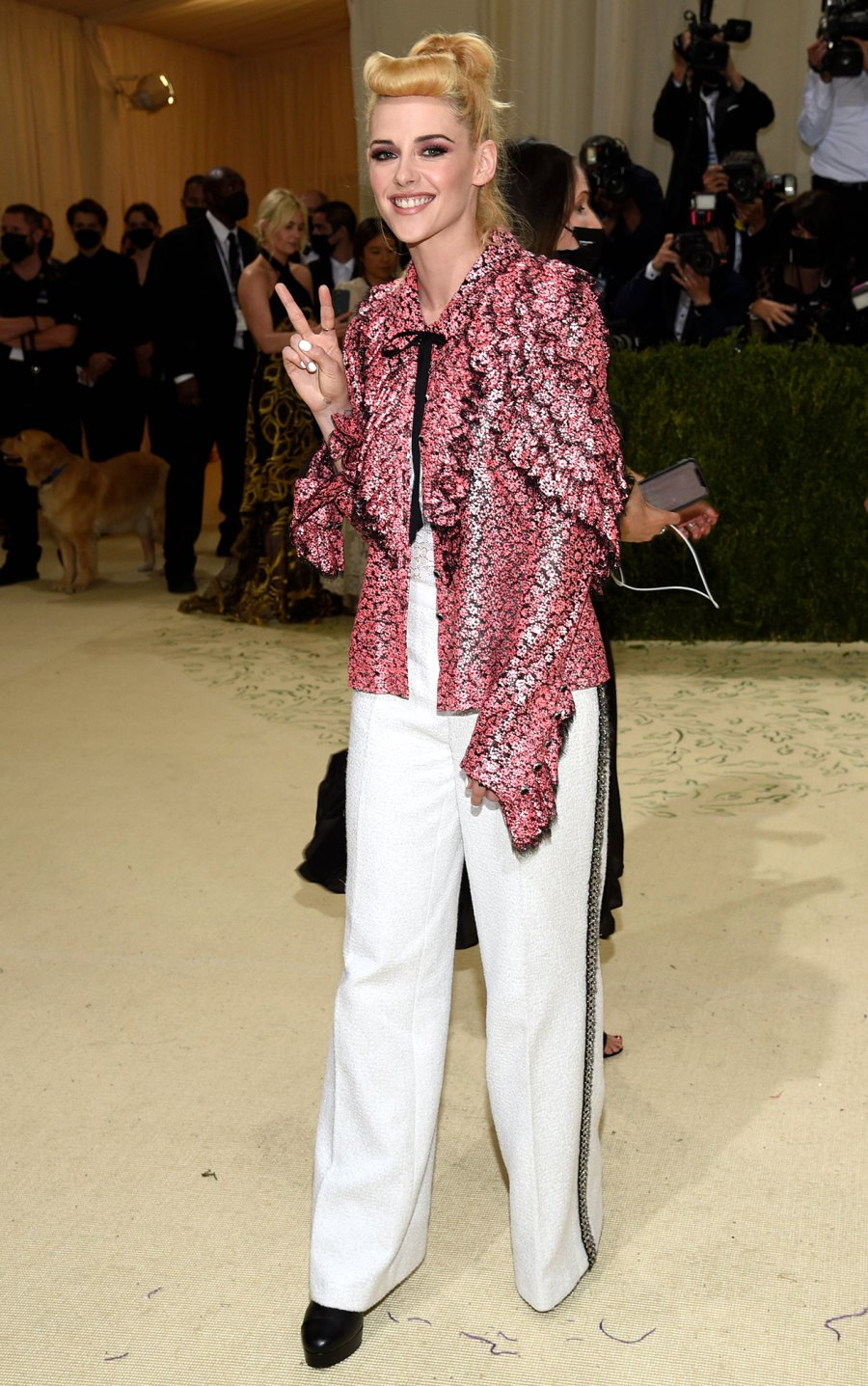 Pink! Peace Signs! Kristen Stewart Serves Up All the Retro Vibes at the 2021 Met Gala