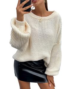 PRETTYGARDEN Women's Crew Neck Loose Drop Shoulder Lantern Sleeve Sweater