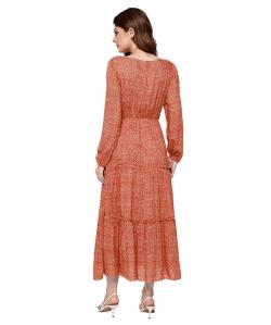 SweatyRocks Women's Long Sleeve Floral Print Chiffon Maxi Dress