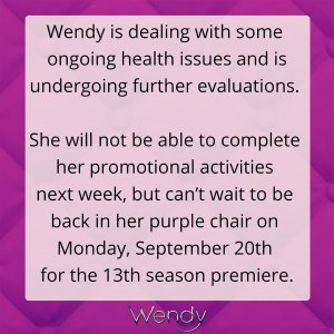 Wendy Williams Cancels Talk Show Promos Due to 'Ongoing Health Issues'