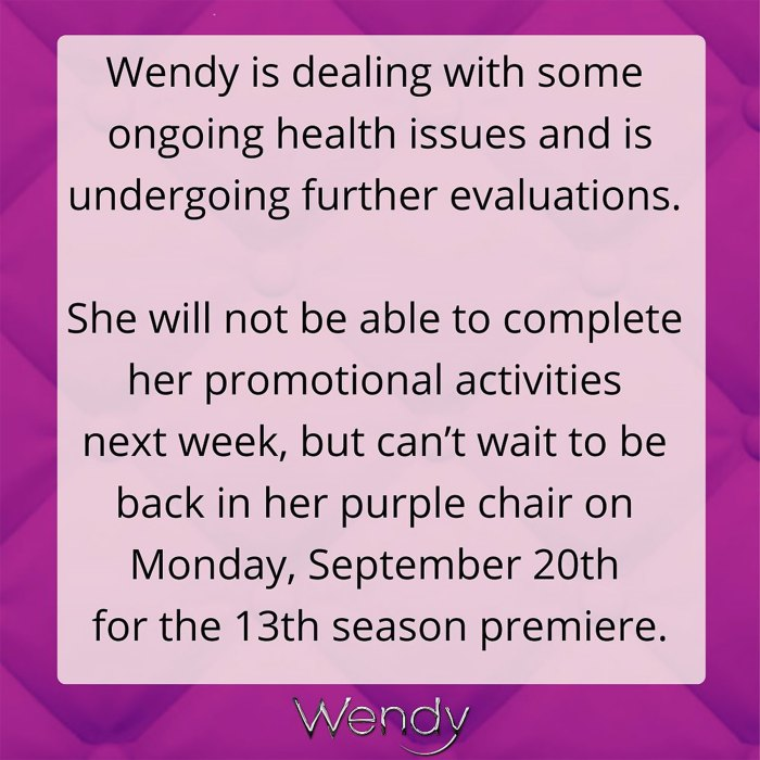 Wendy Williams cancela las promociones de programas de entrevistas debido a 'problemas de salud en curso'
