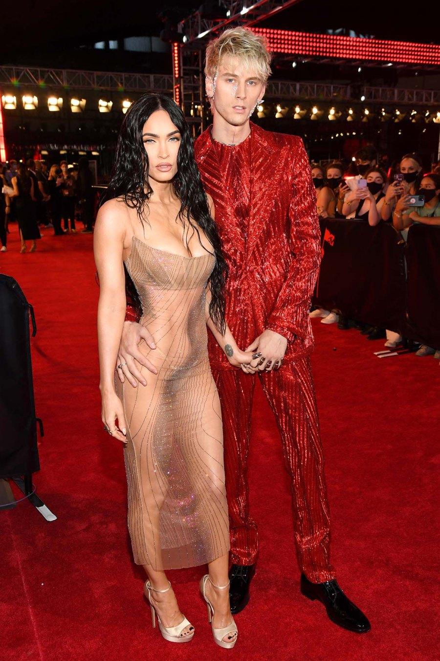 2021 VMAs Whats She Wearing Megan Fox Hold Hands With MGK 2021 VMAs