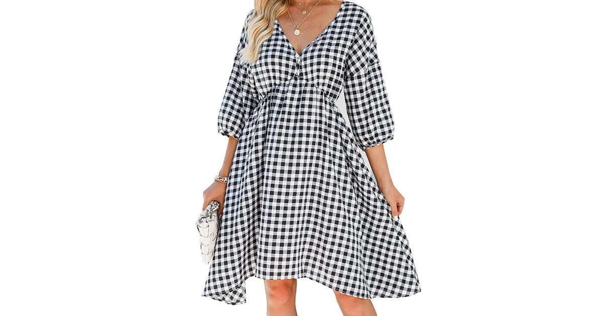 Get Ready for Fall Fashion With This Transitional Gingham Midi Dress — Only $30.jpg