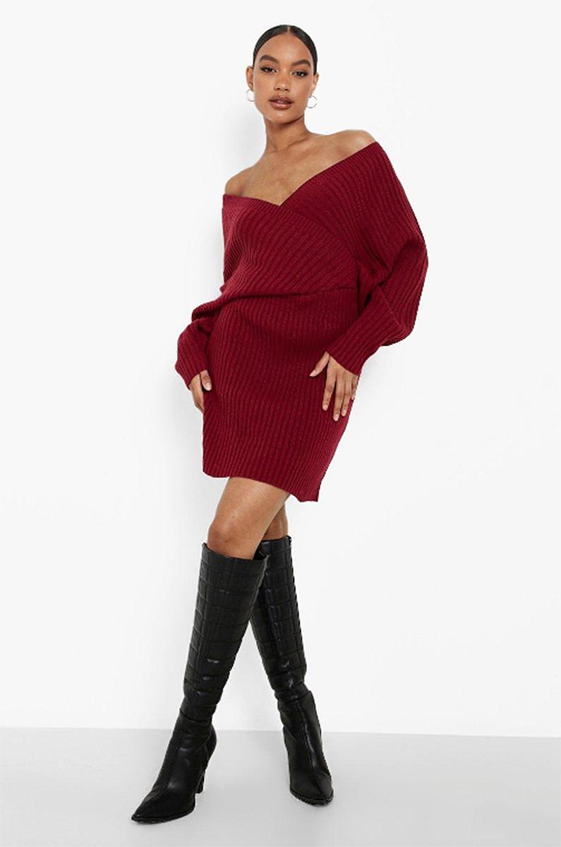 boohoo-fall-outfits-sweaterdress