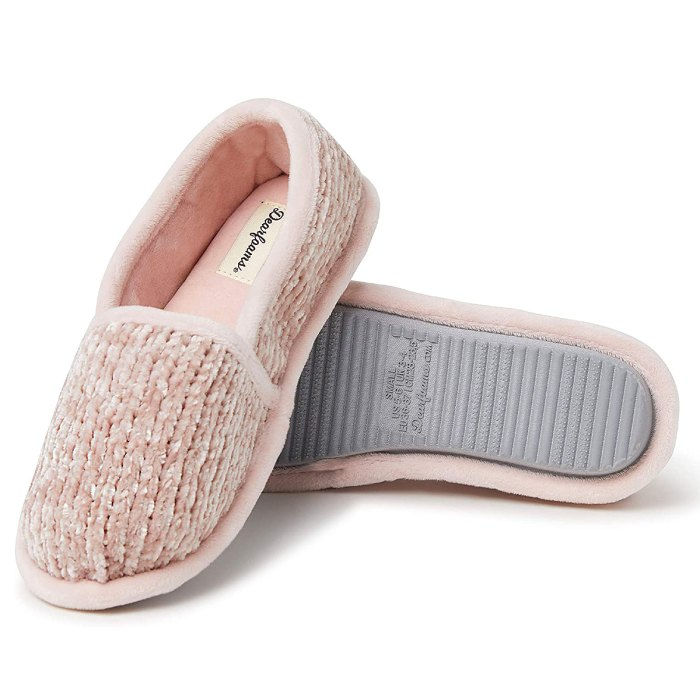 dearfoams-chenille-slippers-pink