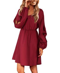 Amoretu Women's Long Sleeve Casual Flowy Swing Dress