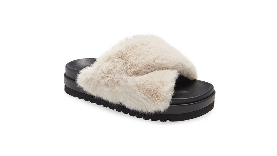 BP. Zoe Cross Band Faux Fur Slide Sandal