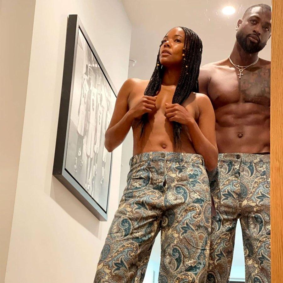 Gabrielle Union, Dwyane Wade Pose Topless in Matching Pants: 'Scorpio Szn'