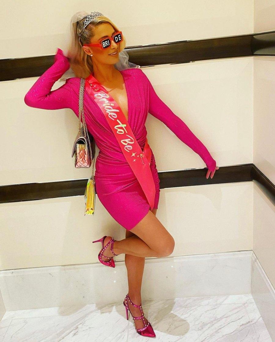 Paris Hilton poses at her Bachelorette party.