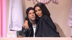Kim Kardashian Trolls Sister Kourtney, BF Travis Barker in 'SNL' Sketch With Kris Jenner and Khloe