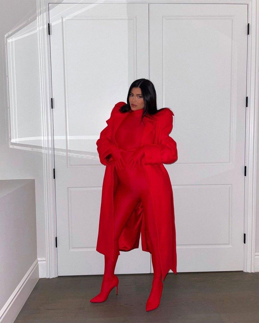 Kylie Jenner Skin-Tight Richard Quinn Bumpsuit Pregnant