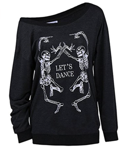 LuFeng Women's Halloween Off Shoulder Skeleton Long Sleeve Sweatshirt