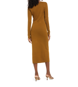 Open Edit High Slit Midi Sweater Dress