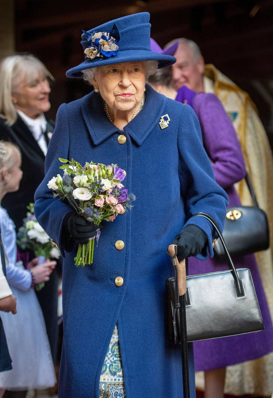 Queen Elizabeth II Uses Cane Attend Westminster Service