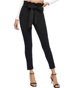 SOLY HUX Women's Elegant High Waist Tied Front Paperbag Pants