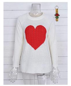 shermie Women's Pullover Long Sleeve Crewneck Heart Knit Sweater
