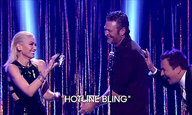 "Blake Shelton Gwen Stefani - Something was brewing! Stefani and Shelton hilariously performed Drake's ""Hotline Bling"" on The Tonight Show on October 26."