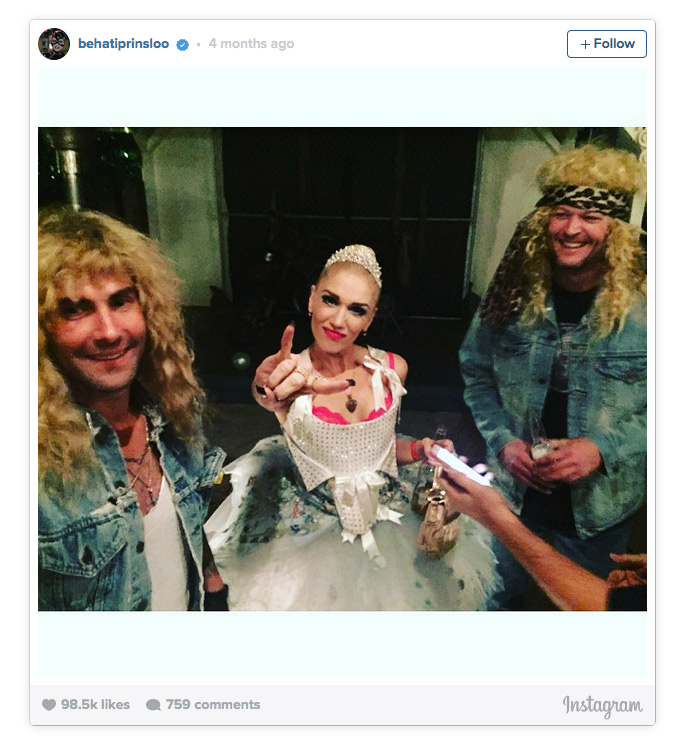 Blake Shelton Gwen Stefani - Shelton and Stefani hit fellow Voice coach Adam Levine's 2015 Halloween bash together, and partygoers told Us Weekly that the pair were together the whole night. A stealthy photo taken by one attendee showed Shelton with his arms wrapped around Stefani on the dance floor.
