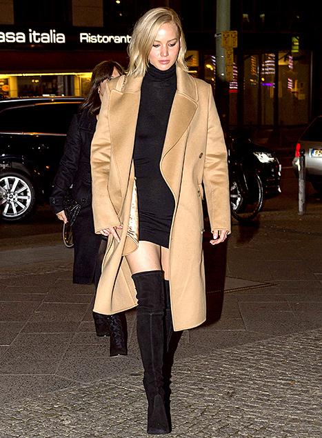 Jennifer Lawrence - Camel Coat