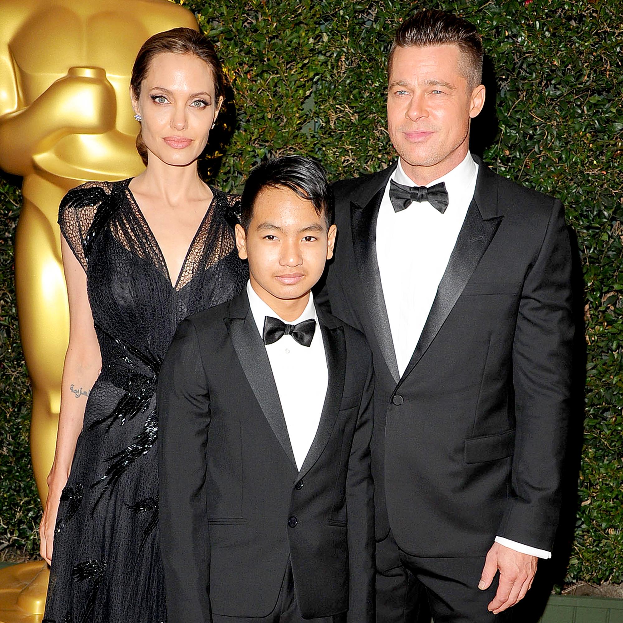 Angelina Jolie, Maddox and Brad Pitt