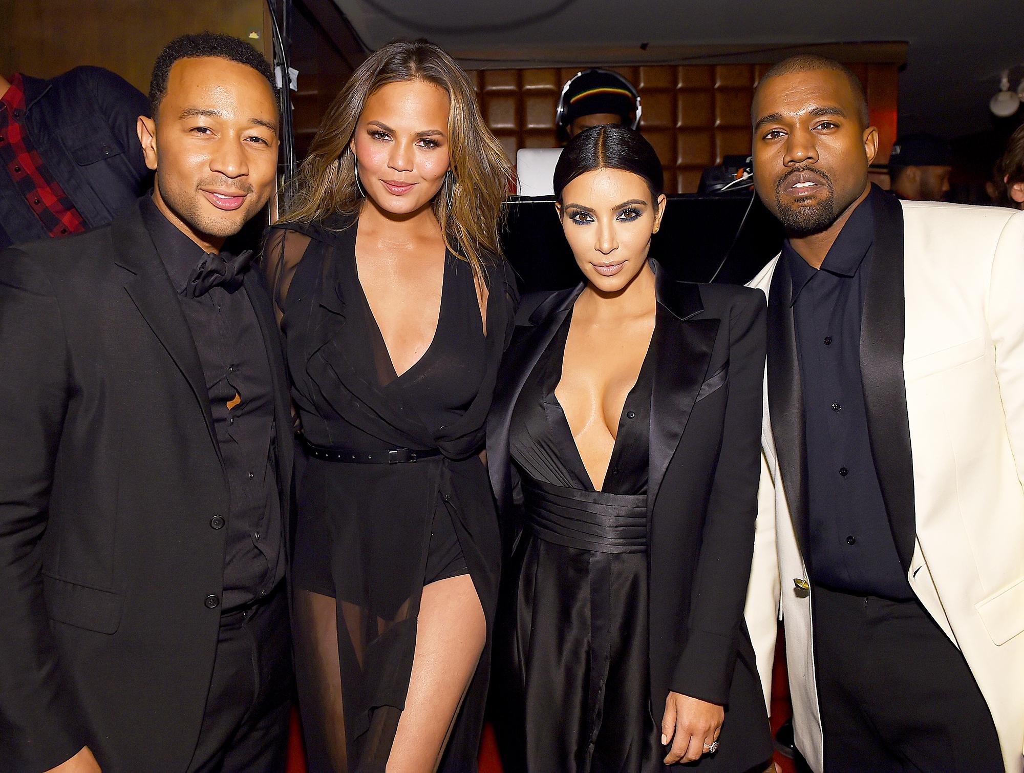 John Legend, Chrissy Teigen, Kim Kardashian and Kanye West
