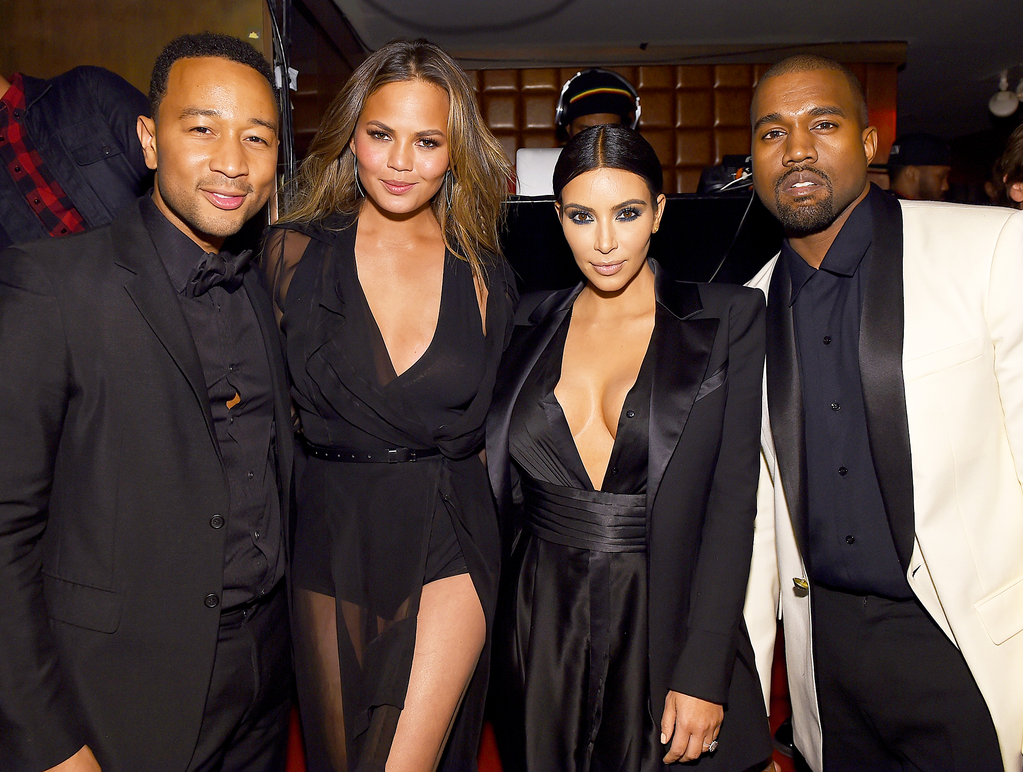 John Legend, Chrissy Teigen, Kim Kardashian and Kanye West