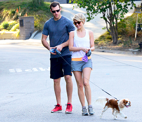 Brooks Laich and Julianne Hough walking dogs