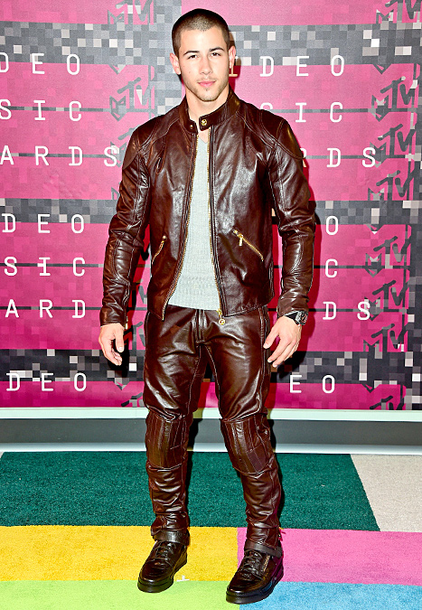 Nick Jonas - brown leather
