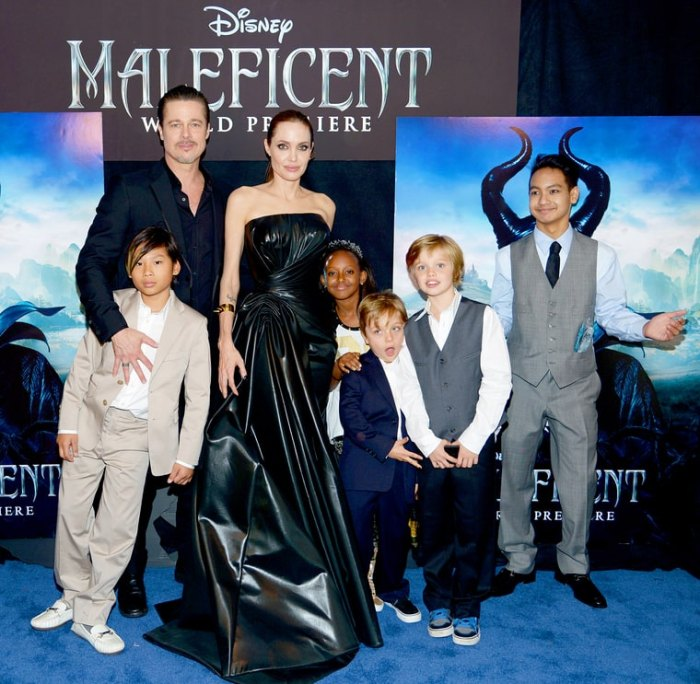 Brad Pitt and Angelina Jolie, with children (left to right) Pax, Zahara, Knox, Shiloh and Maddox Jolie-Pitt, attend the world premiere of Disney's 'Maleficent' in 2014.