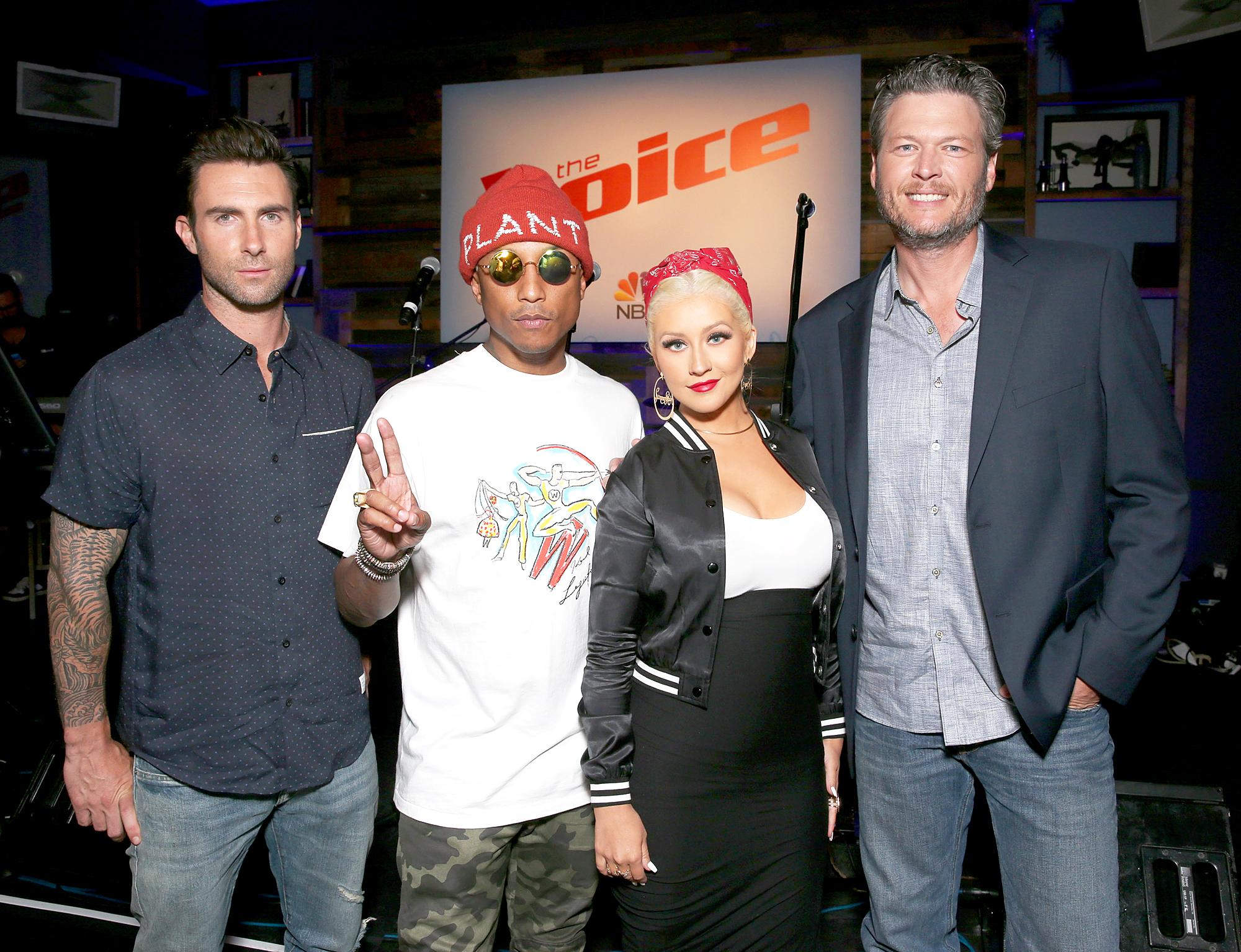 Adam Levine, Pharrell Williams, Christina Aguilera and Blake Shelton