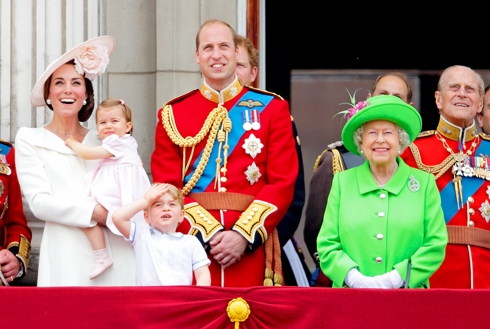 Kate Middleton, Princess Charlotte, Prince George, Prince William, Prince Harry and Queen Elizabeth