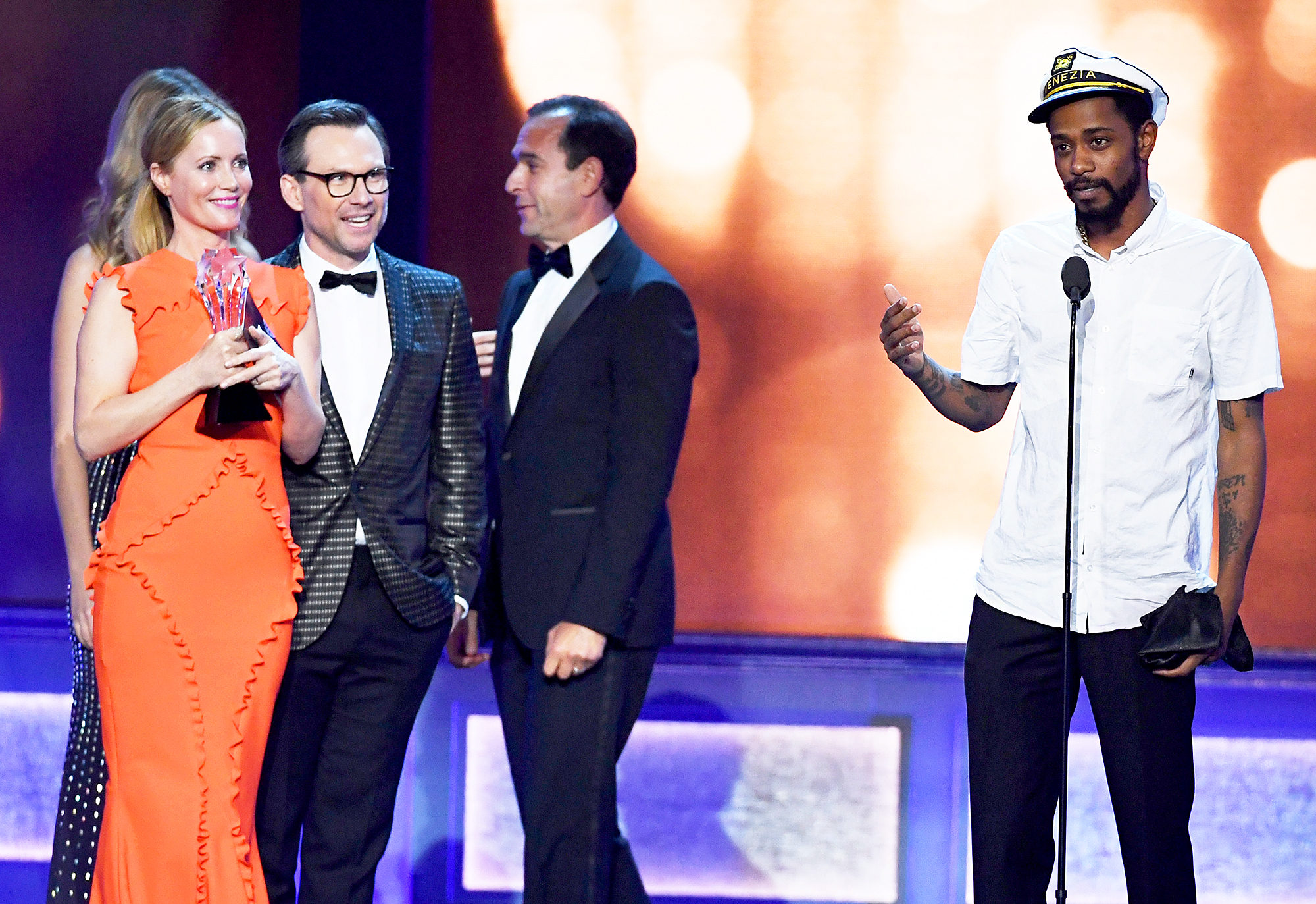 Keith Stanfield, Leslie Mann and Christian Slater and Tom Lassally