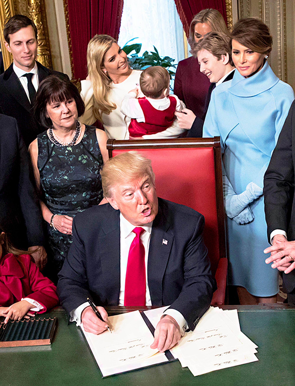 Ivanka Trump, Theodore, Barron Trump and Donald Trump