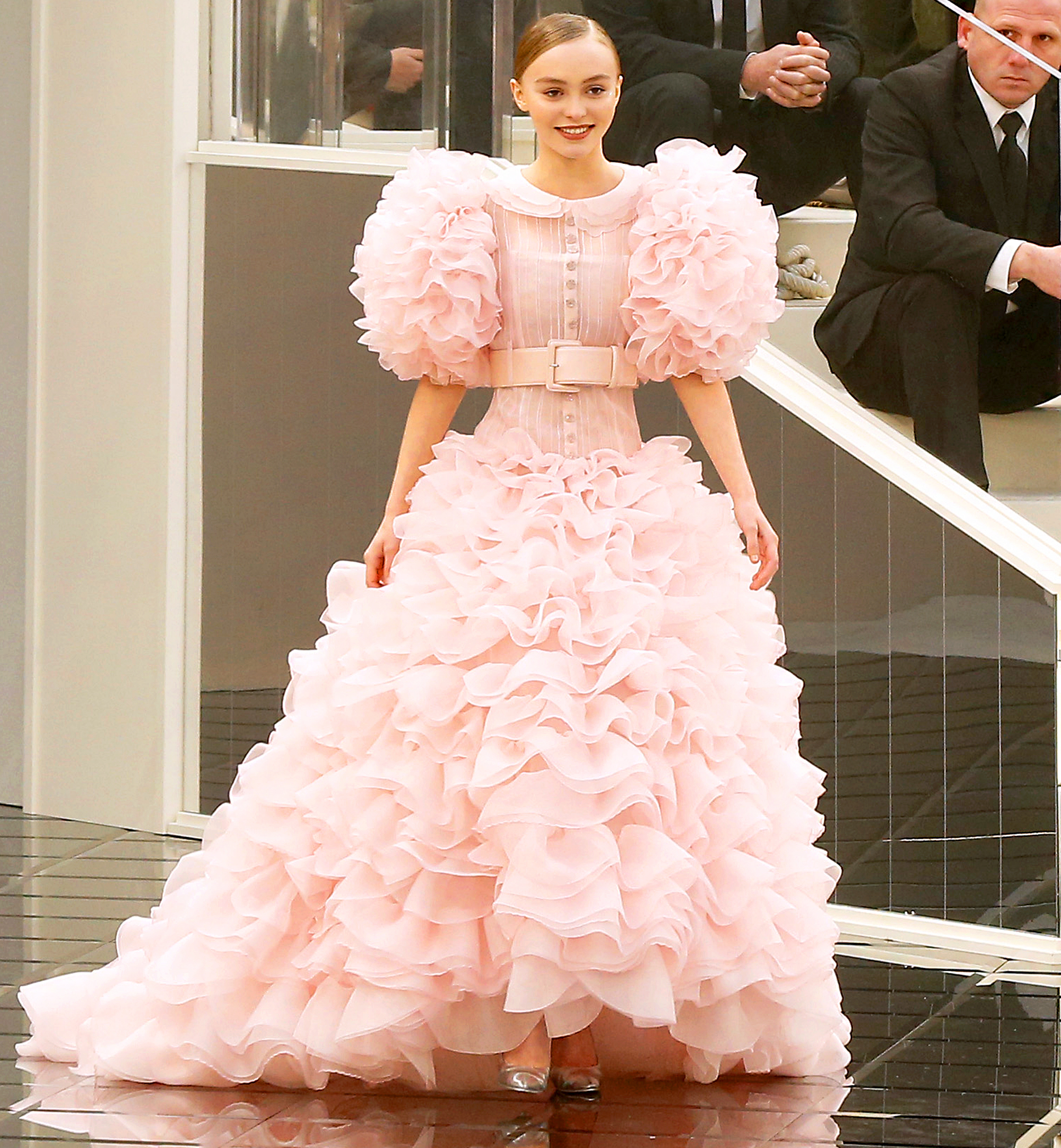 Lily Rose Depp Stunned In A Blush Bridal Gown While Closing The Chanel Haute Couture Show Paris On Tuesday January 24 Bertrand Rindoff Petroff Getty
