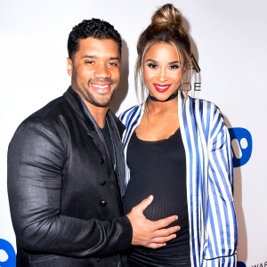 Russell Wilson and Ciara attend the Warner Music Group Grammy Party in 2017.