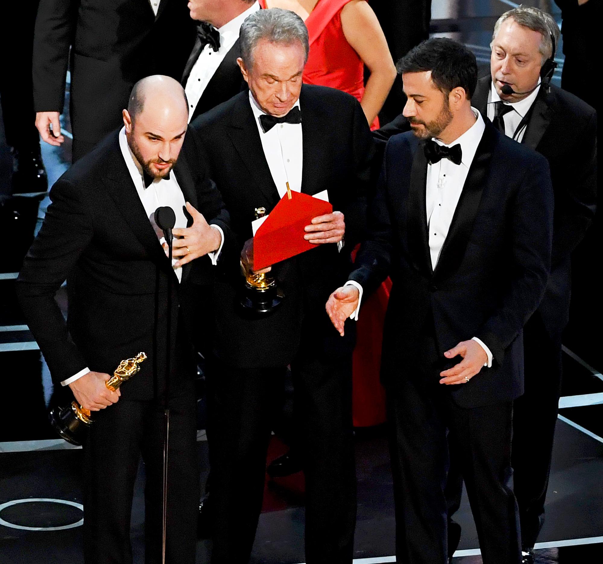 Jordan Horowitz, Warren Beatty and Jimmy Kimmel